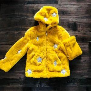 ZARA Yellow Faux Fur Jacket